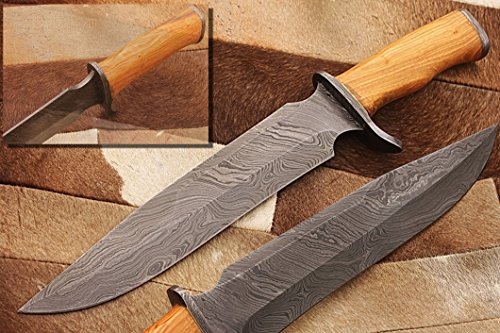 zzz-61 custom handmade damascus blade hunting knife/ bone