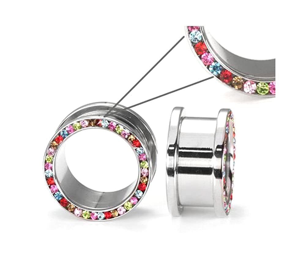 1 Price Per 1 Painful Pleasures DE COLORES #2 Threaded Tunnel High Polish Steel Ear Jewelry 4mm