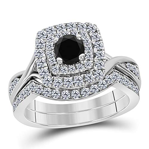 - DreamJewels 2.00 CT Created Black Sapphire Round Cut Pave Double Halo Bridal Engagement Wedding Ring Band Set 14k White Gold Finish Alloy for Ladies