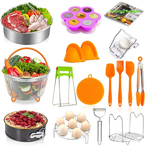 (Instant Pot Accessories Set,20 Pcs Pressure Cooker Accessories Set for 5,6,8 Qt,Non-stick Springform Pan, Egg Slicers,Peeler,Steamer Baskets, Egg Bites Mold,Egg Steamer Rack)