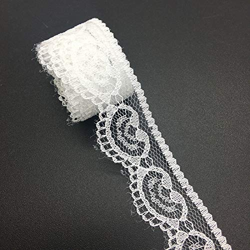 - 10yds 22mm Handicrafts Embroidered Net Lace Trim Ribbon DIY Wedding Decorations (Color - White)