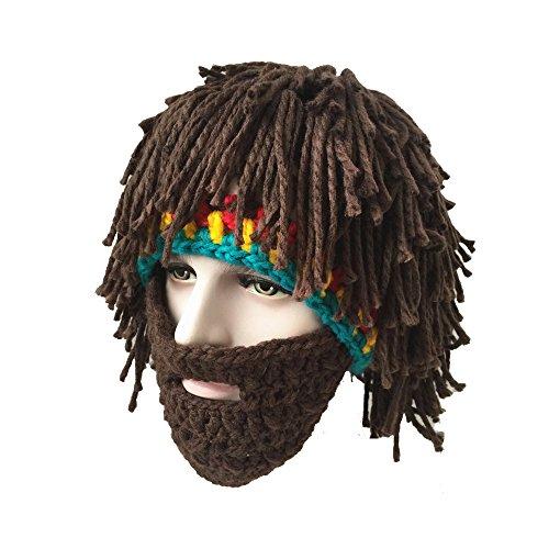 (Molagogo Wig Beard Hats Rasta Bandana Dreadlocks Handmade Crocheted Women Men's Halloween)