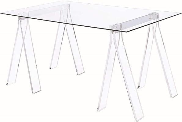 Coaster Home Furnishings Coaster Amaturo Contemporary Clear Acrylic Sawhorse Writing Desk