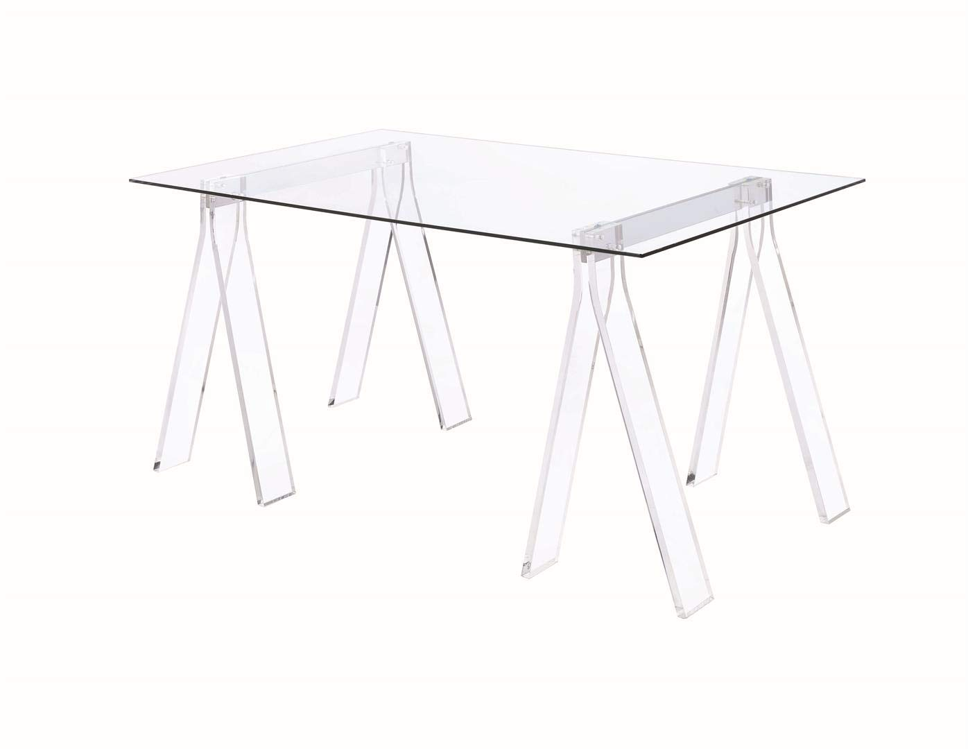 Coaster Home Furnishings Coaster Amaturo Contemporary Clear Acrylic Sawhorse Writing Desk, 31.5x59x30, Glass