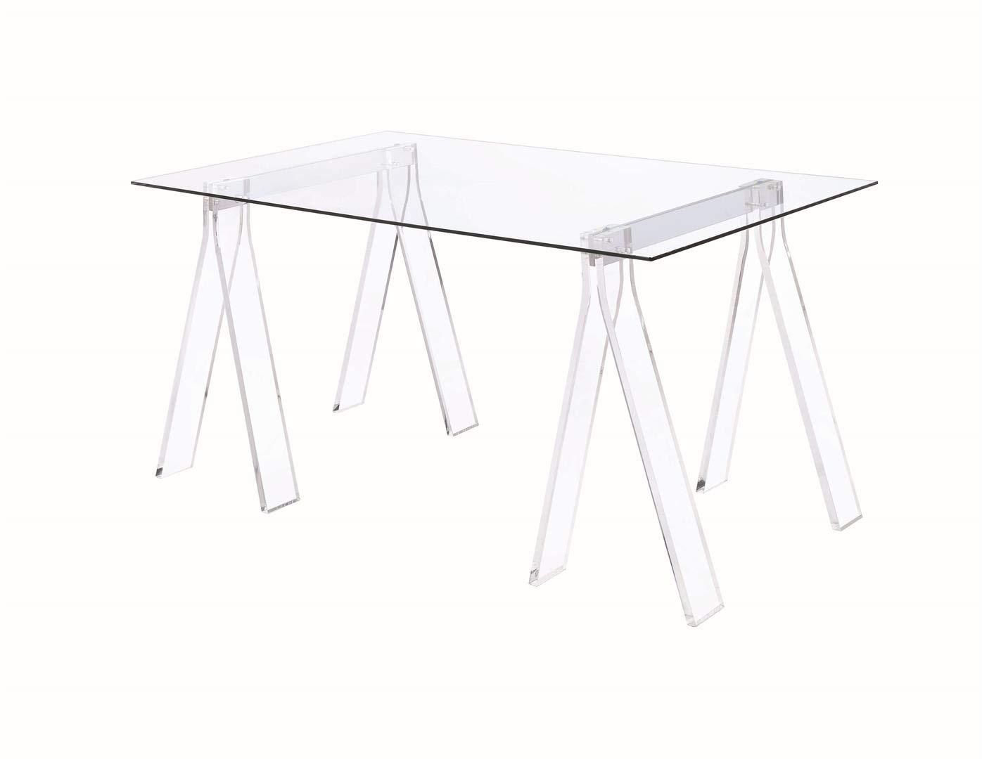 Coaster Home Furnishings 801535 Coaster Amaturo Contemporary Clear Acrylic Sawhorse Writing Desk, 31.5x59x30, Glass by Coaster Home Furnishings