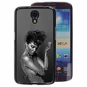 A-type Arte & diseño plástico duro Fundas Cover Cubre Hard Case Cover para Samsung Galaxy Mega 6.3 (Pattern Black White Woman Fashion)
