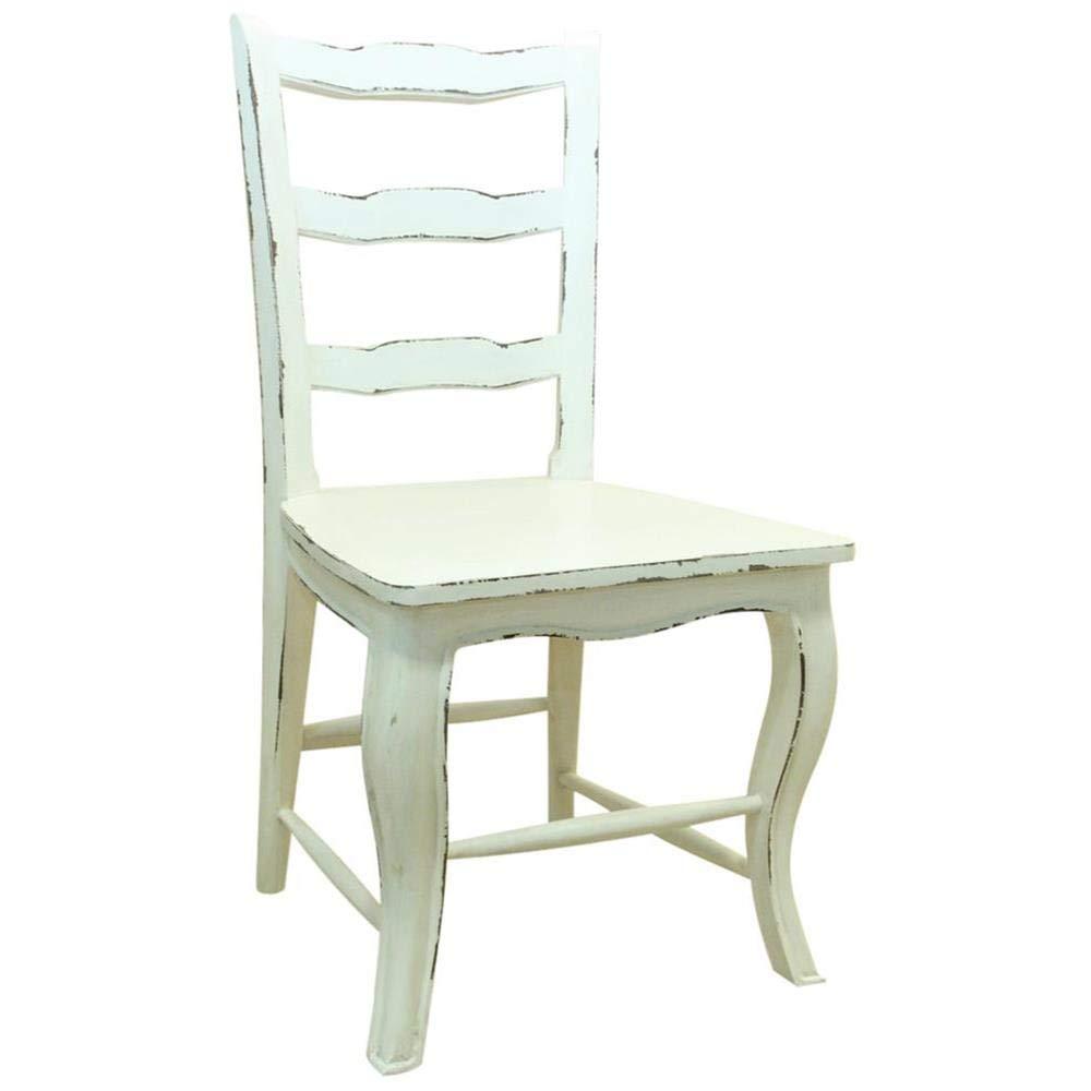 Etnicart - Sedia provenzale Shabby Chic bianco-46x110x46-Shabby Chic -Massello