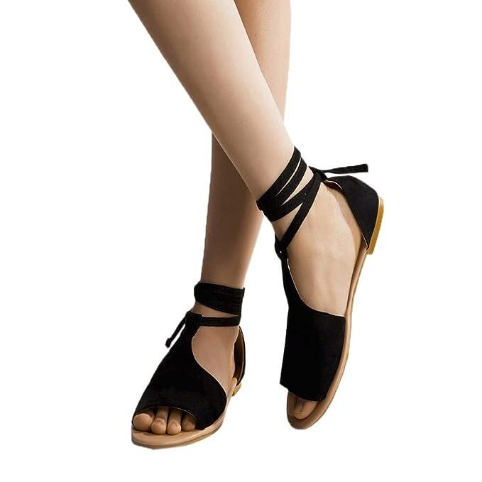 cfba03afd0cf5 Amazon.com: Amlaiworld Women Plus Size Shoes Lace-Up Beach Sandals ...