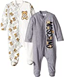 Moschino Kids  Baby Boy's Logo Teddy Bear Lettering Two-Piece Footie Gift Box Set (Infant) Cloud Clothing Set