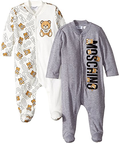 Moschino Kids  Baby Boy's Logo Teddy Bear Lettering Two-Piece Footie Gift Box Set (Infant) Cloud Clothing Set by Moschino Kids