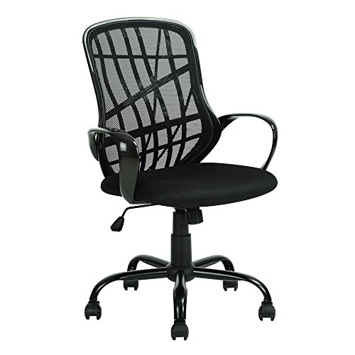 Z ZTDM Mesh Covered Swivel Computer Task Office Chair, Executive Chairs Metal Base Breathability Mid-Back, Recliner with Cushion Padded, Headrest, Armrest, Back Support Black