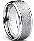 8MM Men's Tungsten Carbide Ring with Celtic Design size 13