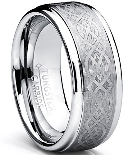 Design Mens Ring - 8MM Men's Tungsten Carbide Ring with Celtic Design Size 11.5