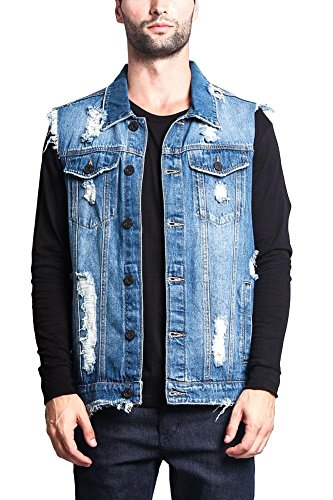 Victorious G-Style USA Distressed Denim Vest DK101 - Classic Indigo - Large - A3G by Victorious