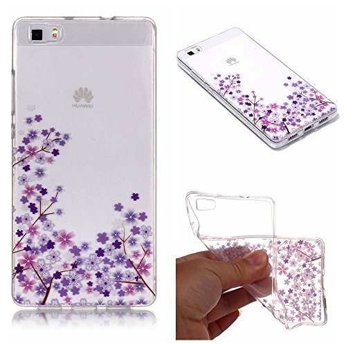 (Stysen for Huawei P8 Lite Crystal Clear Case,for Huawei P8 Lite Transparent Cover,Creative Simple Pretty Cherry Flower Series Purple Flower Cover for Huawei P8 Lite-Purple Flower)