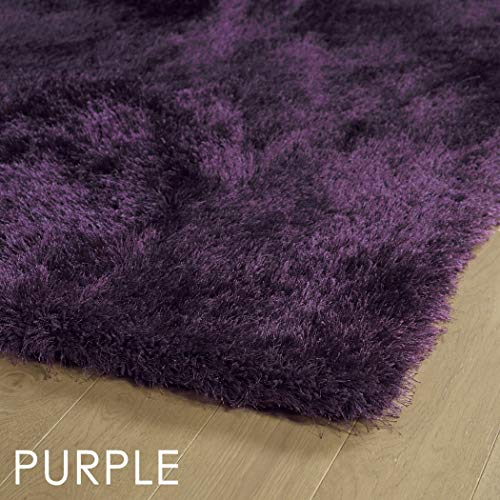 (3' x 5' Purple Super Plush Hand Tafted Bright Contemporary Dazzle Shag Area Rug, Polyester Handmade Vibrant Luxury Soft Solid Color, Indoor Rectangle Bathroom Bedroom Accent Carpet)