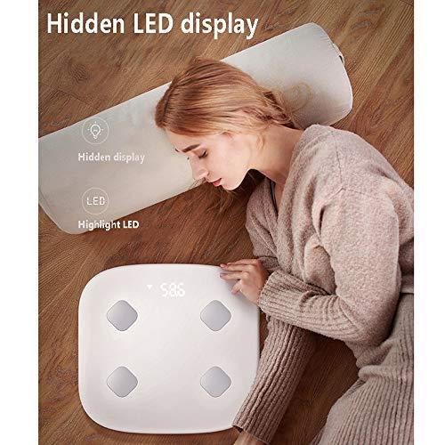 Escala de grasa corporal de Bluetooth, báscula de grasa corporal inteligente escala de peso WiFi medición precisa cuerpo composición analizador fácil de ...