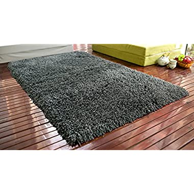 Merax® 5 X 8 Fireproof Shag Rug Shag Collection Contemporary Living and Bedroom Soft Shaggy Area Rug (Charcoal Grey)