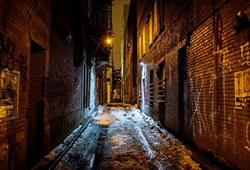 Yeele Alley 7x5ft /2.2 X 1.5M City Snow Alley Night Bricks Wall Doodle Pictures Adult Artistic Portrait Photoshoot Props Photography Background Wallpaper ()