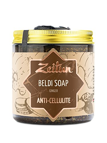 (Zeitun Authentic Beldi Soap - Traditional Moroccan Body Soap - Vegan Olive Oil Soap Made With Ginger and Castor & Coconut Oils - Eucalyptus Slimming Body Wash 8.5 oz)