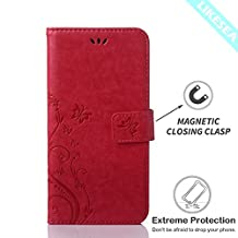 LIKESEA Butterfly Floral Series Leather Wallet Case Flip Cover with Card Slot and Magnetic Closure for Samsung Galaxy Core LTE G386W - Magenta