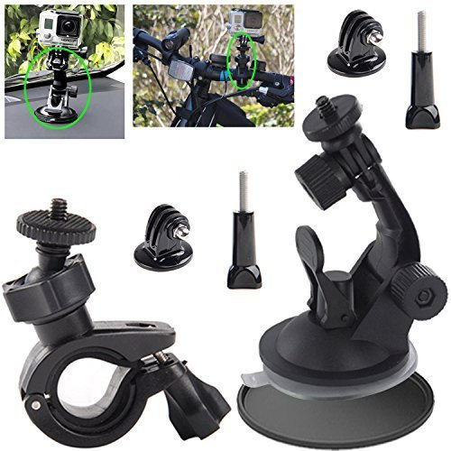 EEEKit aeecssories Kit for GoPro Hero 5 4 Black Session 3 Activeon CX Action Camera VTech Kidizoom, Bike Handlebar Mount for Camera, Car Suction Cup Mount