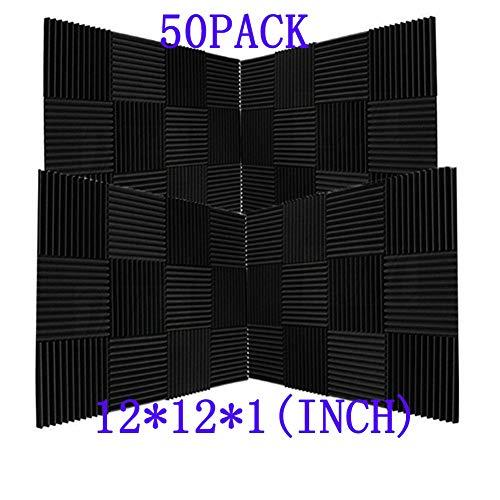 50 Pack Ice Black Acoustic Panels Studio Foam Wedges 1' X 12' X 12' (50pack, Black)