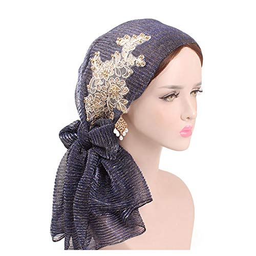 - Glitter Floral Embroidery Turban Solid Color Beaded Head Wrap Long Scarf for Women Ladies Navy