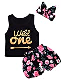 #6: Baby Girls Floral Outfit Set Wild One 3Pcs Vest Skirt With Headband