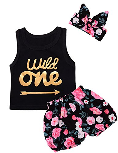 Baby Girls Floral Outfit Set Wild One 3Pcs Vest Skirt with Headband (2T-3T, Black)]()