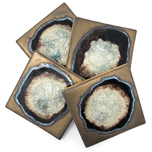 Dock 6 Pottery Coasters with Fused Glass, Bronze, Set of 4
