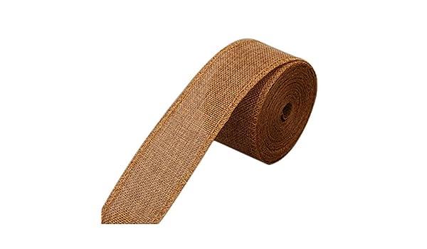 Weanty Rollo de la cinta de lino de imitación de coser tela de algodón cáñamo para la boda de la novia con flores artesanía regalo cuerda de alambre de embalaje marrón, 10M*5CM: