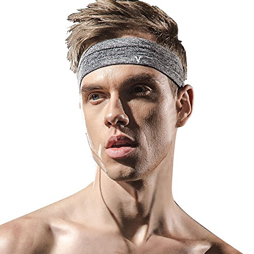 Veadoorn 2 Pack Headband Moisture-Wicking Elastic Men Women Breathable Sports Sweatband Fitness Basketball Football,Working Out, Running, Yoga, Crossfit- High Stretch(Gray, Free Size)