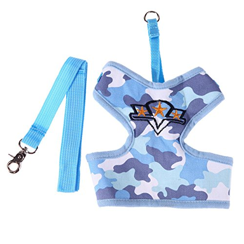 Price comparison product image Embiofuels(TM) Camouflage Pets Chest Strap Puppy Cat Dog Leash Harness for Large Small Dogs Animal Walking Leashes Pet Products[ Blue M ]