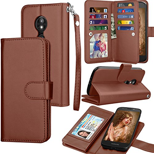 Moto E5 Play Case, Motorola E5 Play Wallet Case, Moto E5 Cruise PU Leather Case, Tekcoo Luxury Credit Card Slots Holder Purse Carrying Folio Flip Cover [Detachable Magnetic Hard Case] Kickstand -Brown