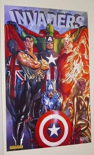 """Alex Ross 36 by 24 inch""""The Invaders"""" Marvel Universe comic book shop promotional promo poster (3 by 2 feet): Captain America/Human Torch/Submariner/Union Jack"""