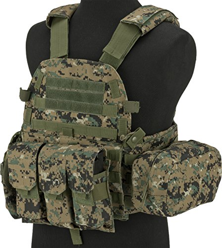 (Evike - Avengers Airsoft Tactical Vest 6D9T4A w/Magazine & Radio Pouches - Digital)