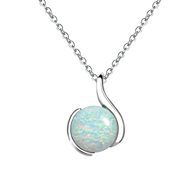 Amazon voluka white gold plated 10mm round opal pendants voluka white gold plated 10mm round opal pendants necklace best jewelry gift for women aloadofball Image collections