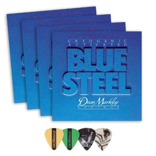 Dean Markley 2552 Blue Steel LT Electric Guitar Strings 4-Pack (0.009-.042) Includes Guitar Picks