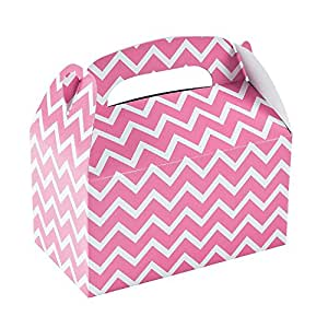 """Candy Pink Chevron Treat Boxes (12 Pack) Paper. 6"""" X 3 3/4"""" X 6"""""""