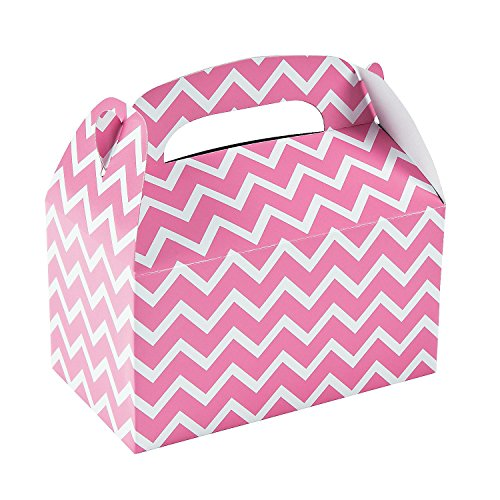 Candy Pink Chevron Treat Boxes (12 Pack) Paper. 6