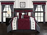 20 Piece Comforter Set Chic Home Icaria 20 Piece Comforter Set Color Block Pinch Pleat Pintuck Design Bag Bedding-Sheets Window Treatments Decorative Pillows Shams Included, King, Red
