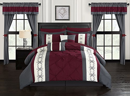 Chic Home Icaria 20 Piece Comforter Set Color Block Pinch Pleat Pintuck Design Bag Bedding-Sheets Window Treatments Decorative Pillows Shams Included, King, - Bedding Treatments Window