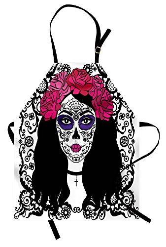 Ambesonne Sugar Skull Apron, Girl with Sugar Skull Make Up Dia De Los Muertos Traditional Art Print, Unisex Kitchen Bib Apron with Adjustable Neck for Cooking Baking Gardening, Black White -