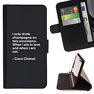For Apple (5.5 inches!!!) iPhone 6+ Plus / 6S+ Plus Case , Coco Cita de motivación de Diseño de Moda- la tarjeta de Crédito Slots PU Funda de cuero Monedero caso cubierta de piel