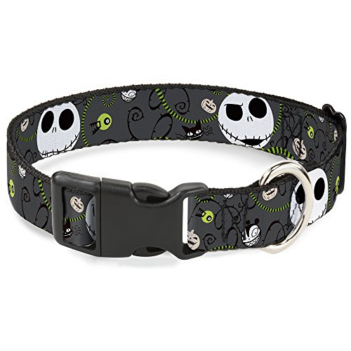 Buckle-Down Plastic Clip Collar - NBC Jack Expressions/Halloween Elements Gray - 1