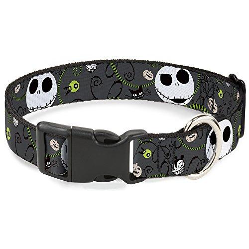 Buckle-Down Breakaway Cat Collar - NBC Jack Expressions/Halloween Elements Gray - 1/2