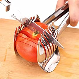 Multiuse Tomato Slicer Lemon Cutter Handheld Round Fruits Tongs Stainless Steel Onion Holder Firm Grip Durable Safe Kitchen Slicing Shredding Potatoes Round Fruits Vegetables Tools Kitchen Cutting Aid 71 UNIQUE DESIGN: Slicing fruits and vegetables more quickly and easily MULTIFUNCTIONAL: Conveniently designed slicing aid, perfect tool for any task in the kitchen, ideal for tomatoes, onions, lemon, citrus fruit & more DURABLE & SAFETY: Made of Stainless steel Material, eco-friendly, durable in use. Clamp design, multifunctional, also couble be used as food tongs