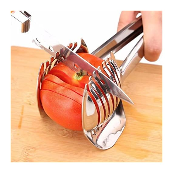 Multiuse Tomato Slicer Lemon Cutter Handheld Round Fruits Tongs Stainless Steel Onion Holder Firm Grip Durable Safe Kitchen Slicing Shredding Potatoes Round Fruits Vegetables Tools Kitchen Cutting Aid 1 UNIQUE DESIGN: Slicing fruits and vegetables more quickly and easily MULTIFUNCTIONAL: Conveniently designed slicing aid, perfect tool for any task in the kitchen, ideal for tomatoes, onions, lemon, citrus fruit & more DURABLE & SAFETY: Made of Stainless steel Material, eco-friendly, durable in use. Clamp design, multifunctional, also couble be used as food tongs