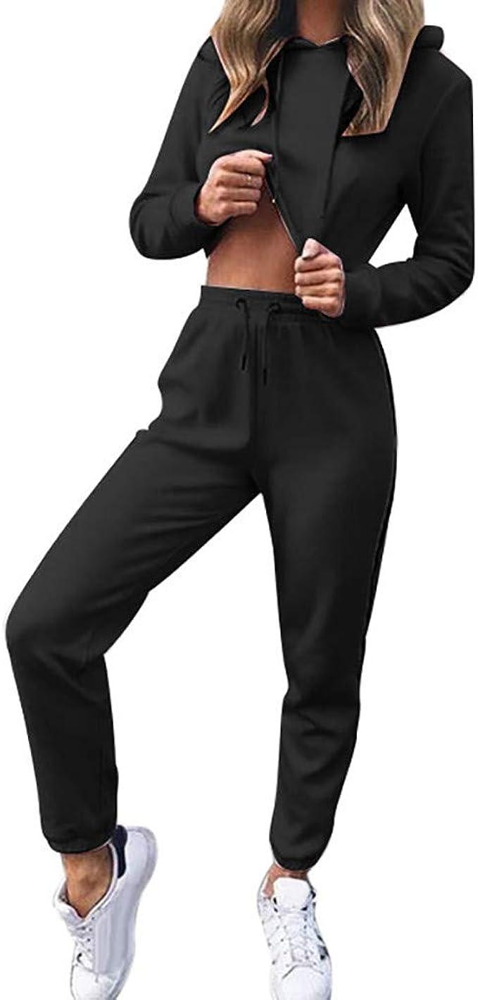 Slim Fit Jogger Pants Women Jogging Suit Tracksuit Casual Sports Set Crop Tops